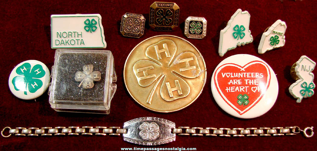 (12) Different Small Old 4-H Award Pins and Advertising Items