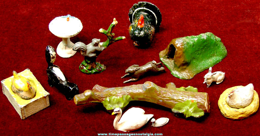 (14) Old Miniature Painted Cast Metal Animal & Scenic Toy Play Set Figurines