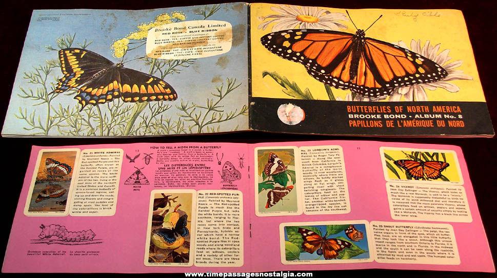 ©1965 Brooke Bond Tea Premium Card Album With (47) Butterflies of North America Cards