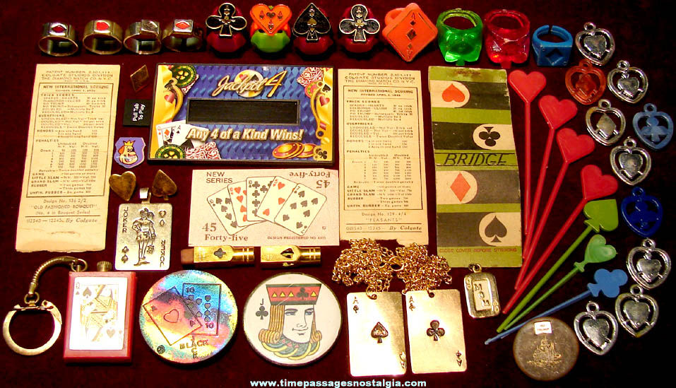 (48) Small Old Playing Card Game and Card Suit Related Items