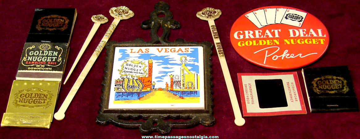 (10) Old Golden Nugget Gambling Hall Casino Advertising and Souvenir Items