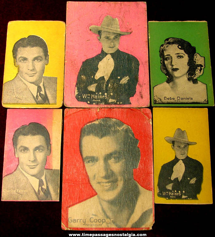 (6) 1920s Actor & Actress Movie Star Non Sports Trading Cards