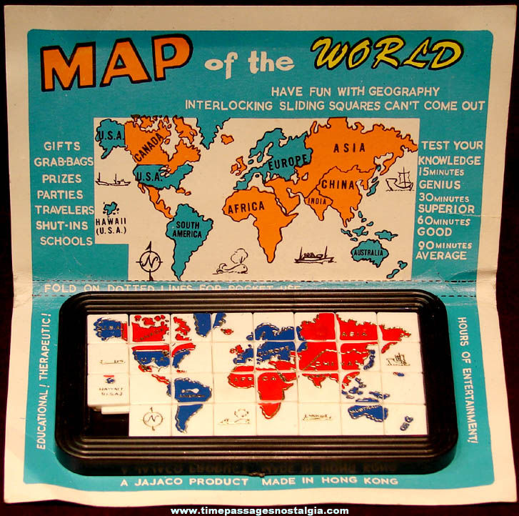 Colorful Old Carded Jajaco Map of The World Geography Slide Puzzle Game