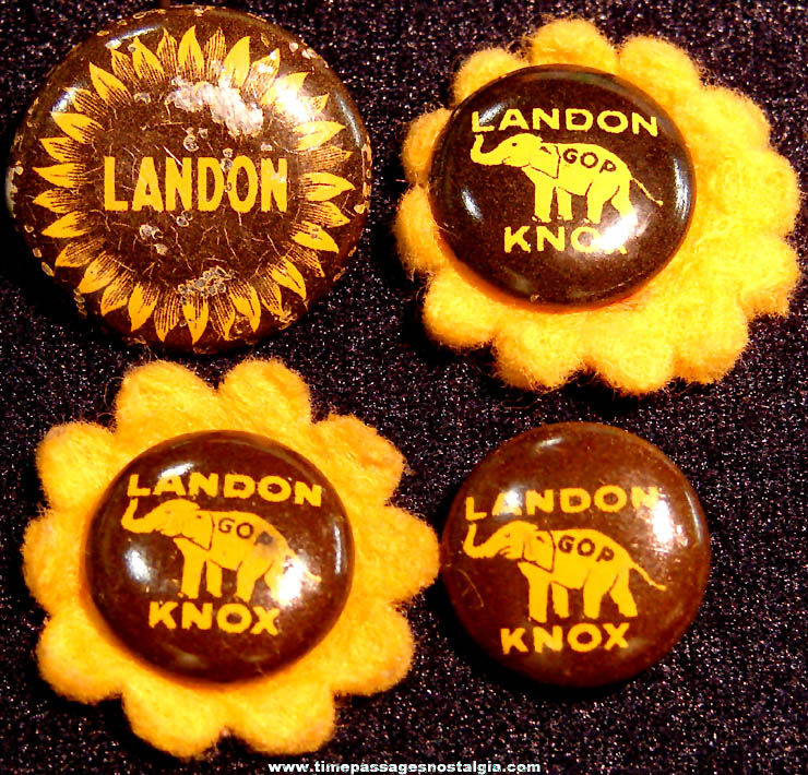 (4) 1936 Alfred Landon & Frank Knox Political Campaign Pin Back Buttons