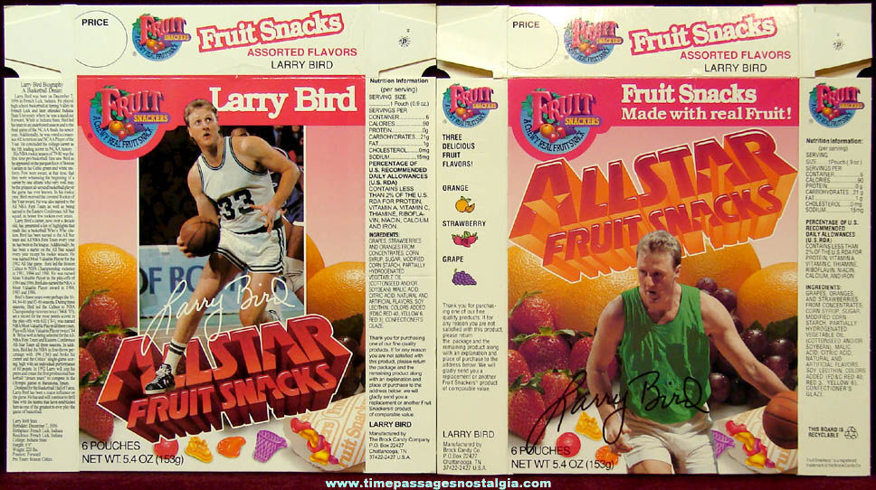 (2) Different Early 1990s Larry Bird Boston Celtics Basketball Fruit Snackers Advertising Boxes