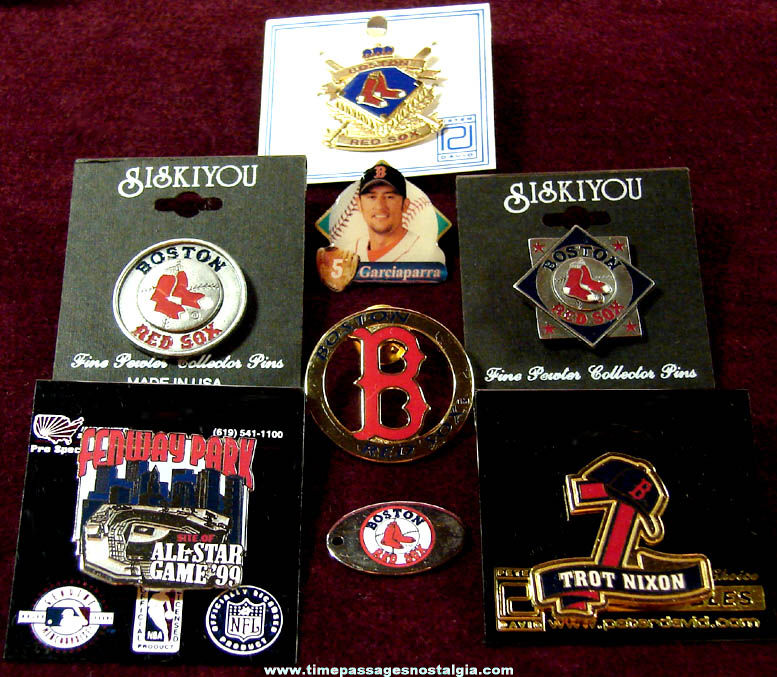 (8) Different Boston Red Sox Baseball Sports Advertising Jewelry Pins
