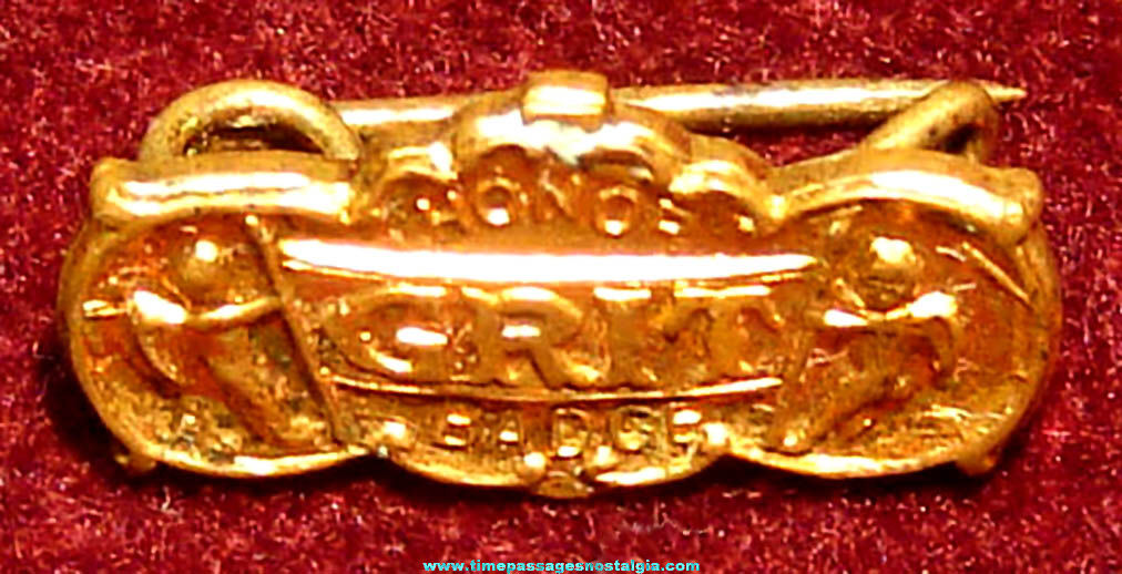 Tiny Old Grit Newspaper Advertising Paperboy Honor Badge Brass Pin