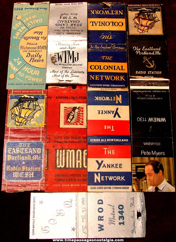 (9) Different Old Radio Station Advertising Match Book Covers