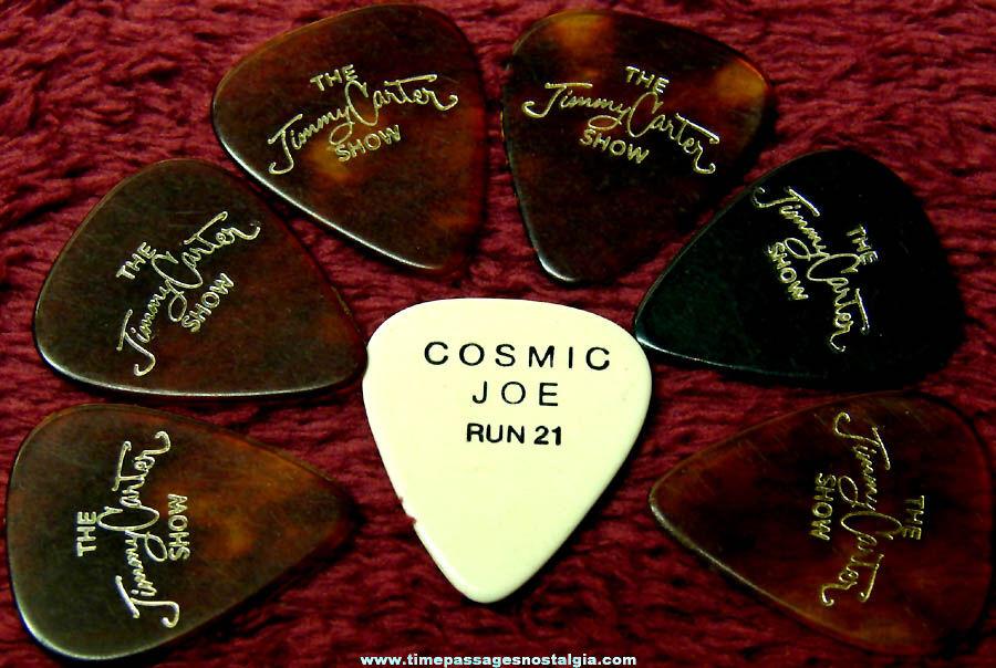 (7) Old Jimmy Carter Show Cosmic Joe & Run 21 Advertising Guitar Picks