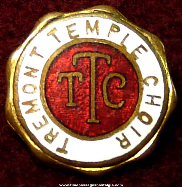 Small Old Enameled Tremont Temple Choir Advertising Member Pin