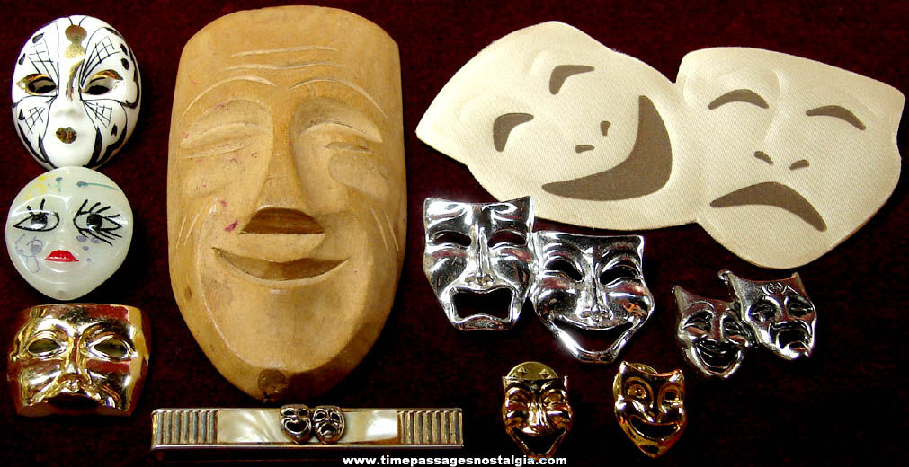 (10) Different Old Theatre Mask Related Items