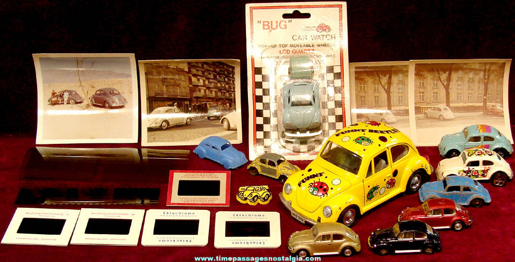 (22) Volkswagen Beetle or Bug Toy Cars & Old Photographs