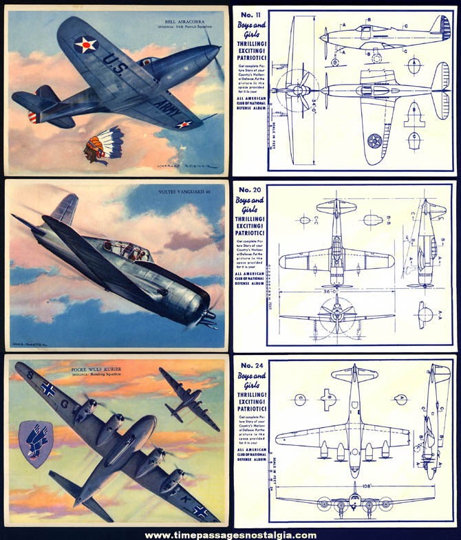 (3) Different Colorful 1939 Charles Rosner World War II War Plane Trading Card Pictures