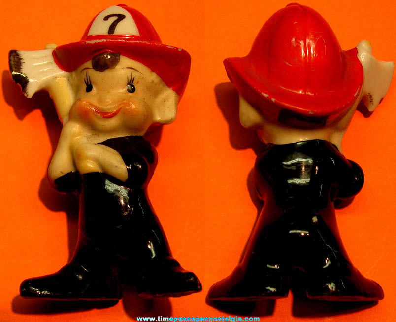 Small Old Elf or Pixie Fireman Character Porcelain Figurine