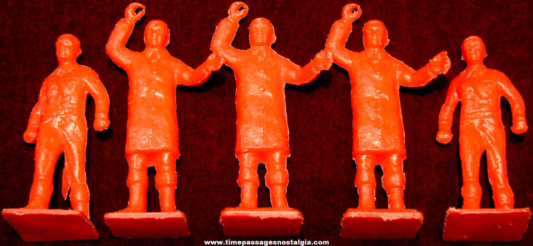 (5) Old Plastic Toy Fireman Play Set Figures