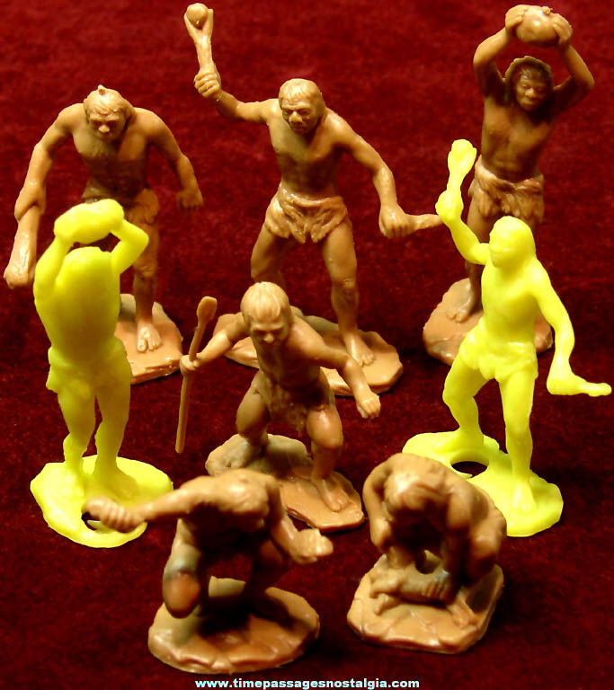 (8) Old Marx & MPC Caveman Plastic Toy Play Set Figures