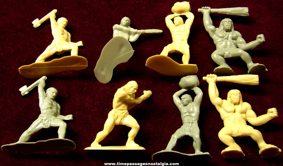 (8) Old Timmee Caveman Plastic Toy Play Set Figures