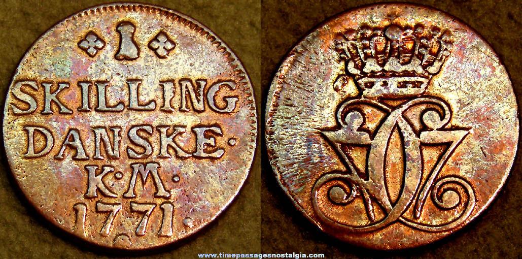 1771 Denmark One Skilling Copper Coin