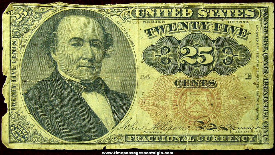 1874 United States Treasury 25 Cent Fractional Currency Bank Note Bill