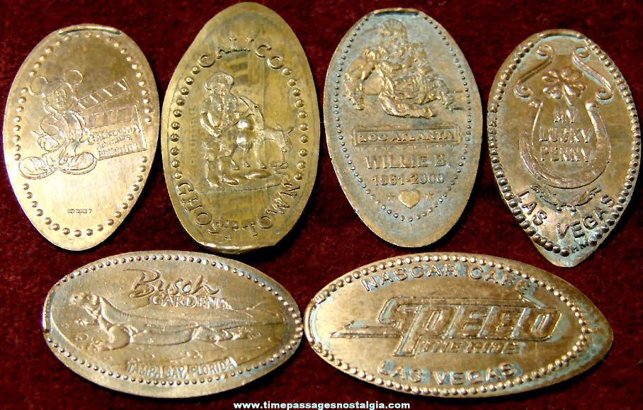 (6) Different Advertising & Souvenir Elongated Cents