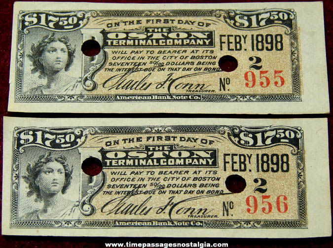 (2) Consecutive Numbered 1898 Boston Terminal Company Stock Tickets