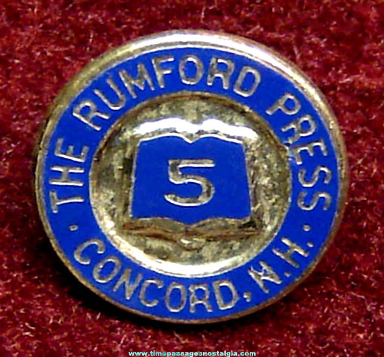 Rumford Press Concord New Hampshire 5 Year Enameled Sterling Silver Employee Service Pin
