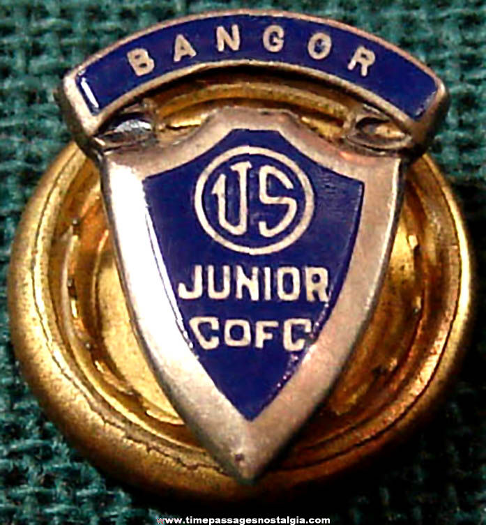 Old Bangor Maine United States Junior Chamber of Commerce Advertising Lapel Stud Button or Pin