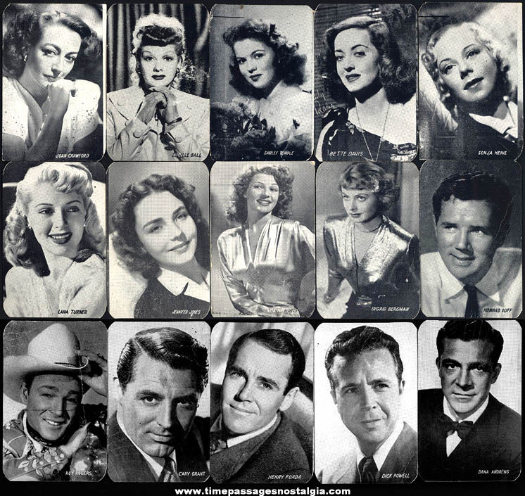 (15) Different Old Hollywood Movie Star Actress & Actor Wallet Size Picture Cards