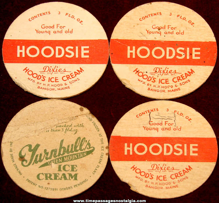 (4) Different Old Movie Star Hoodsie & Turnbull's Ice Cream Cup Premium Lids