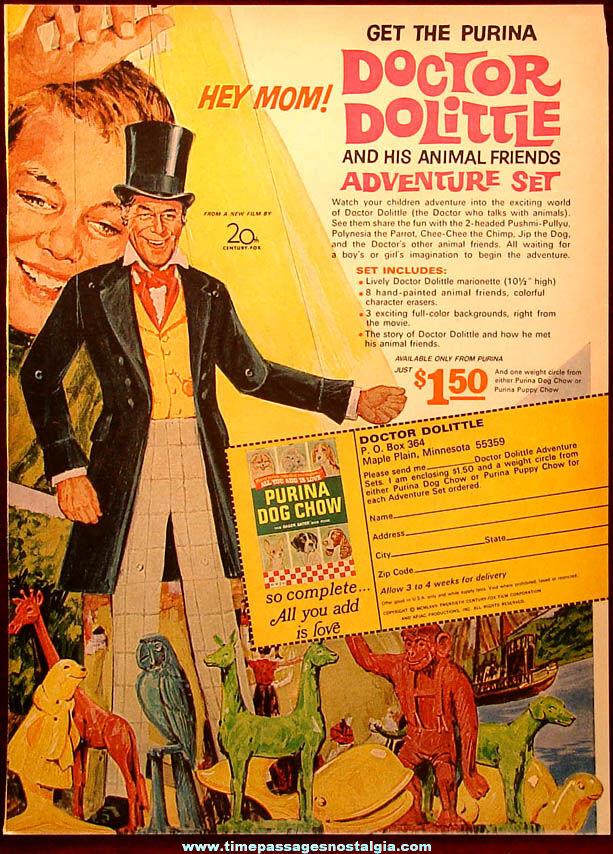 ©1967 Doctor Dolittle Purina Dog Chow Advertising Premium Adventure Play Set Advertisement