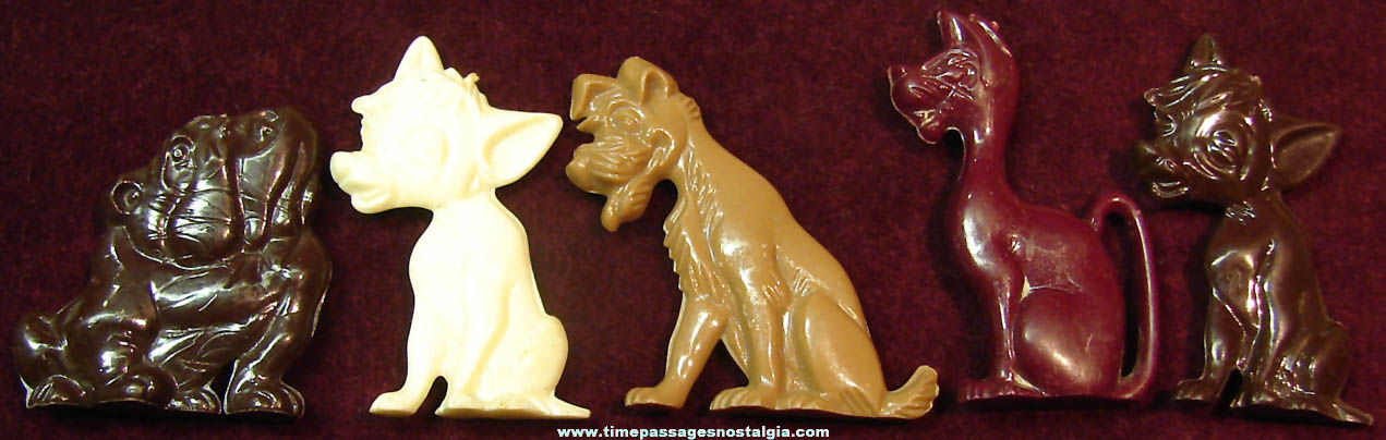 (5) 1955 Walt Disney Lady & The Tramp Advertising Premium Character Play Set Figures