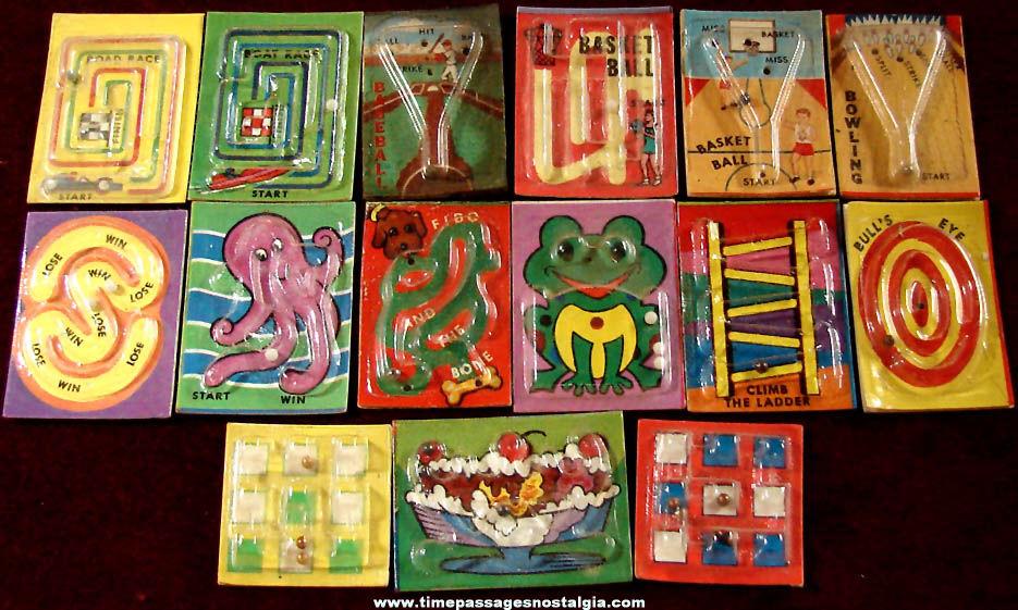 (15) Different Old Cracker Jack Pop Corn Confection Plastic & Paper Palm Puzzle or Bead Game Prizes