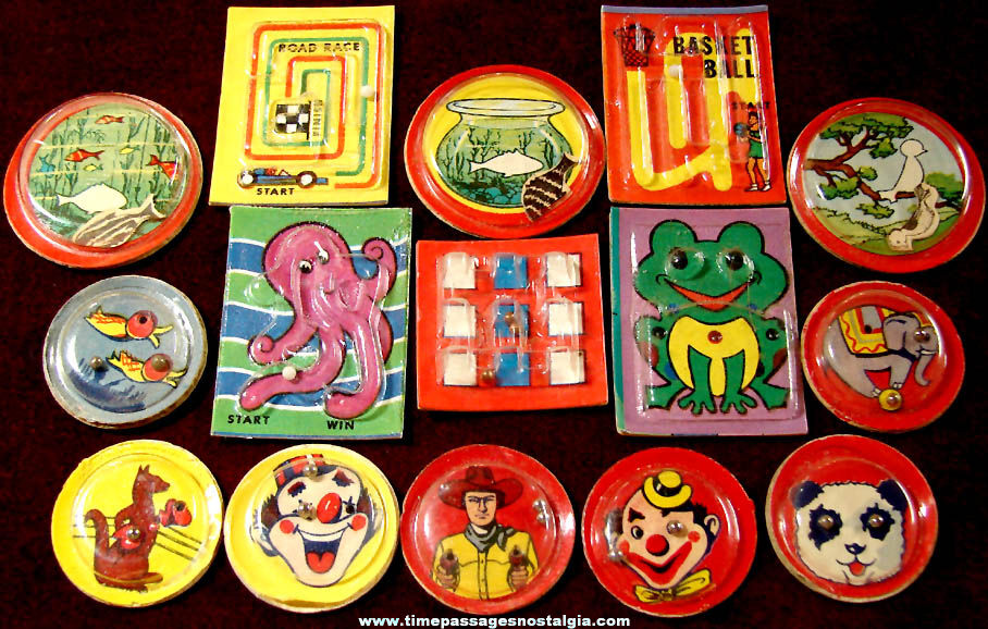 (15) Different Old Cracker Jack Pop Corn Confection Plastic & Paper Palm Puzzle or Bead Game Prizes