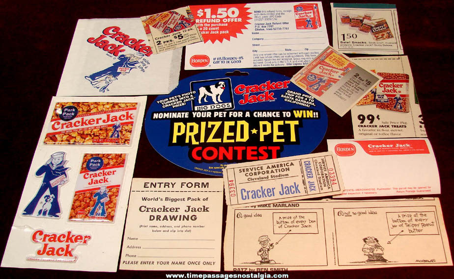 (15) Different Old Cracker Jack Pop Corn Confection Paper Advertising Items