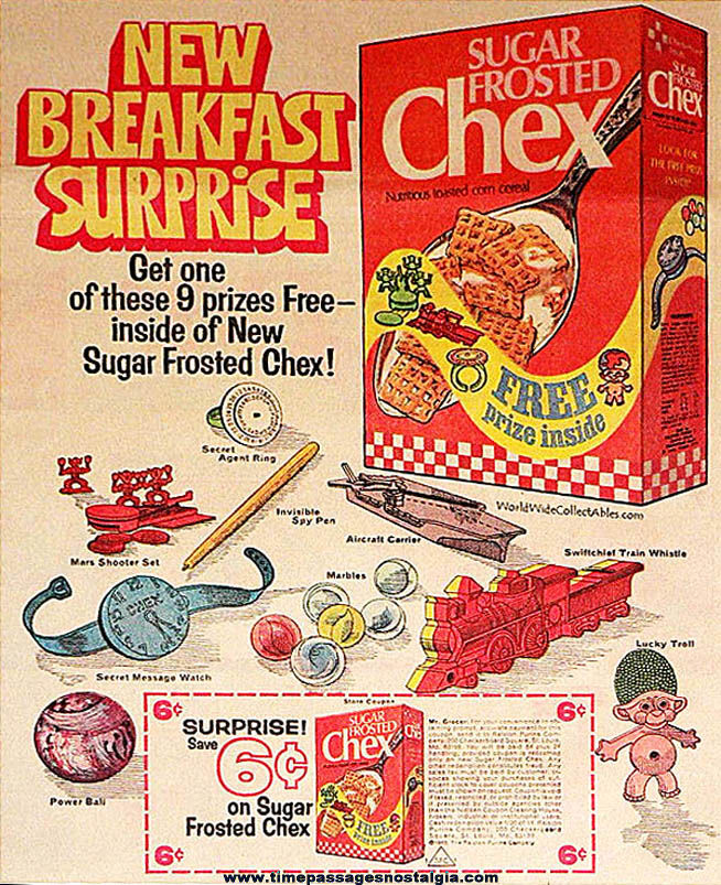 1969 Ralston Sugar Frosted Chex Cereal Mars Shooter Set Toy Prize