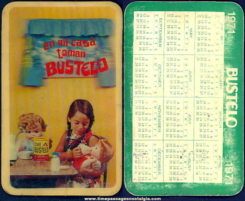 1971 Bustelo Coffee Advertising Premium 3D Xograph Calendar Card with Girl & Toy Dolls