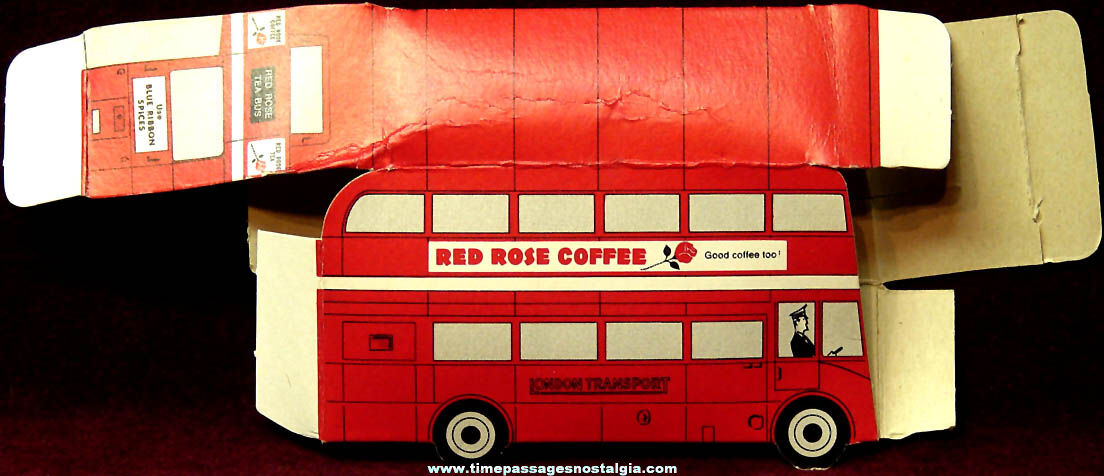 Expo67 World's Fair Red Rose Tea & Coffee Advertising Premium Toy Cardboard Bus