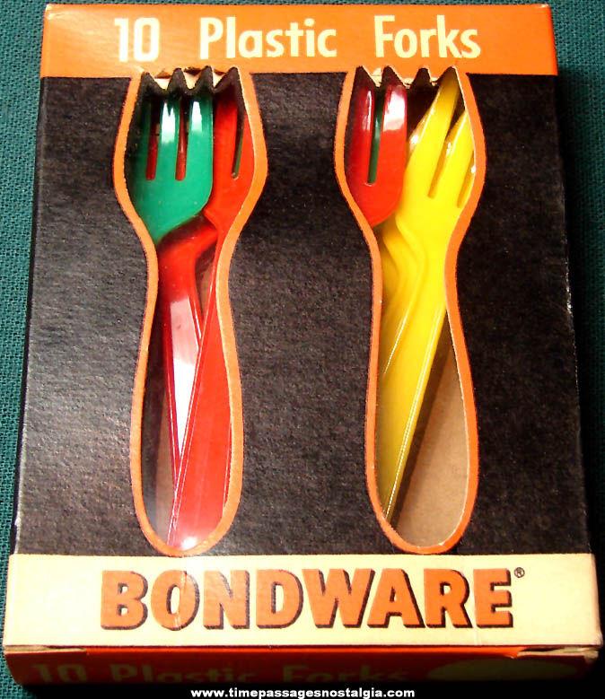 Old Unused Box of Colorful Bondware Brand Plastic Forks