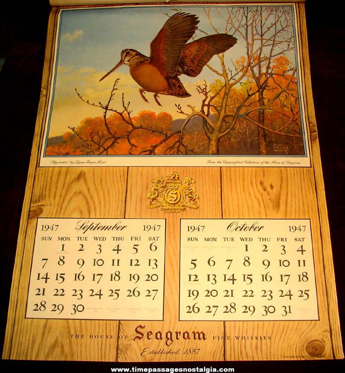 1947 & 1948 Seagram Whiskey Advertising Premium Calendars With Mailer