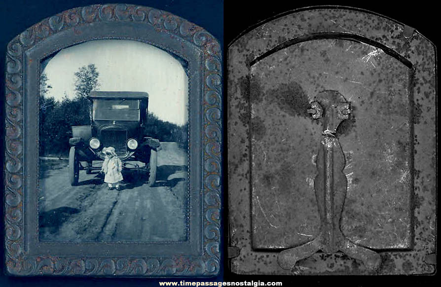 Old Framed Child Photograph In Front of a Model T Ford Convertible Automobile