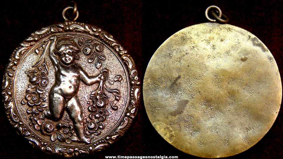 Old Child with Flowers Necklace Jewelry Medallion Pendant