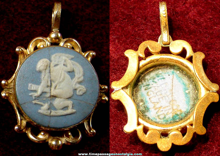 Old English Wedgwood Angel Necklace Jewelry Medallion Pendant