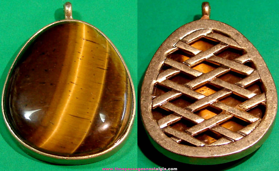 Old Tiger's Eye Stone Necklace Jewelry Medallion Pendant