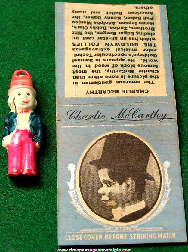 (2) Small Old Charlie McCarthy Ventriloquism Puppet Character Items