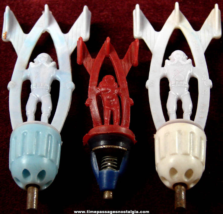 (3) Old Space Astronaut & Rocket Plastic Toy Cap Bombs