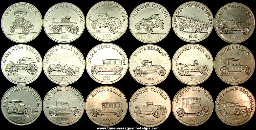 (18) Different ©1968 Sunoco Gasoline Advertising Premium Antique Car Coin Series 1 Token Coins
