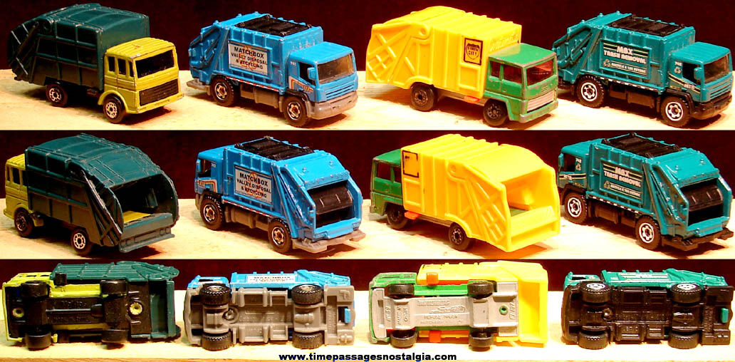 (4) Different Miniature Toy Garbage Truck Die Cast Vehicles
