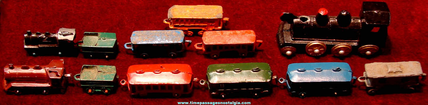 (12) Colorful Old Miniature Metal Toy Train Cars