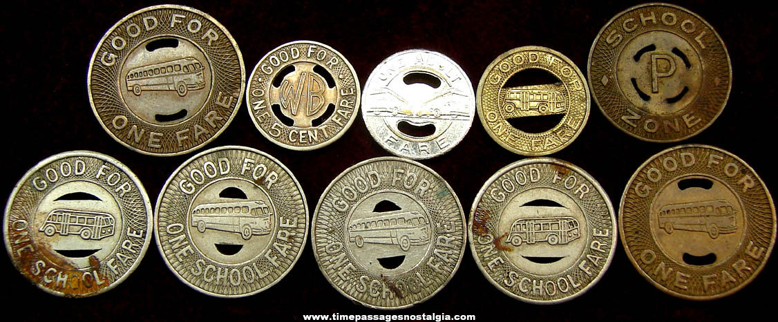 (10) Assorted Old Bus Transportation Token Coins