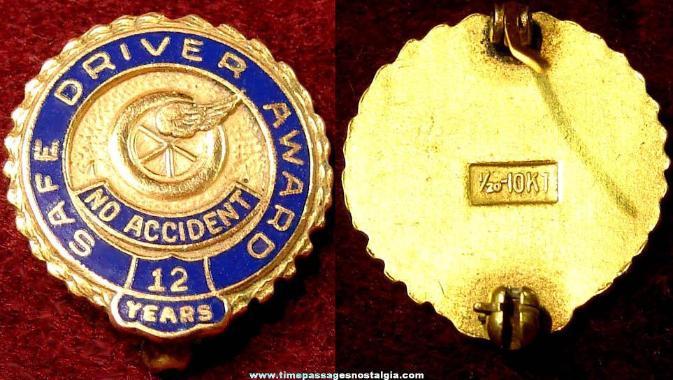 Old Enameled & Gold Filled Safe Driver 12 Year Award Pin